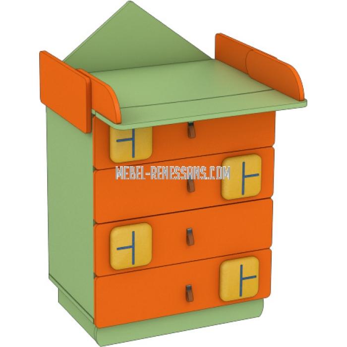 Детская мебель – Полка Пеленатор и комодик