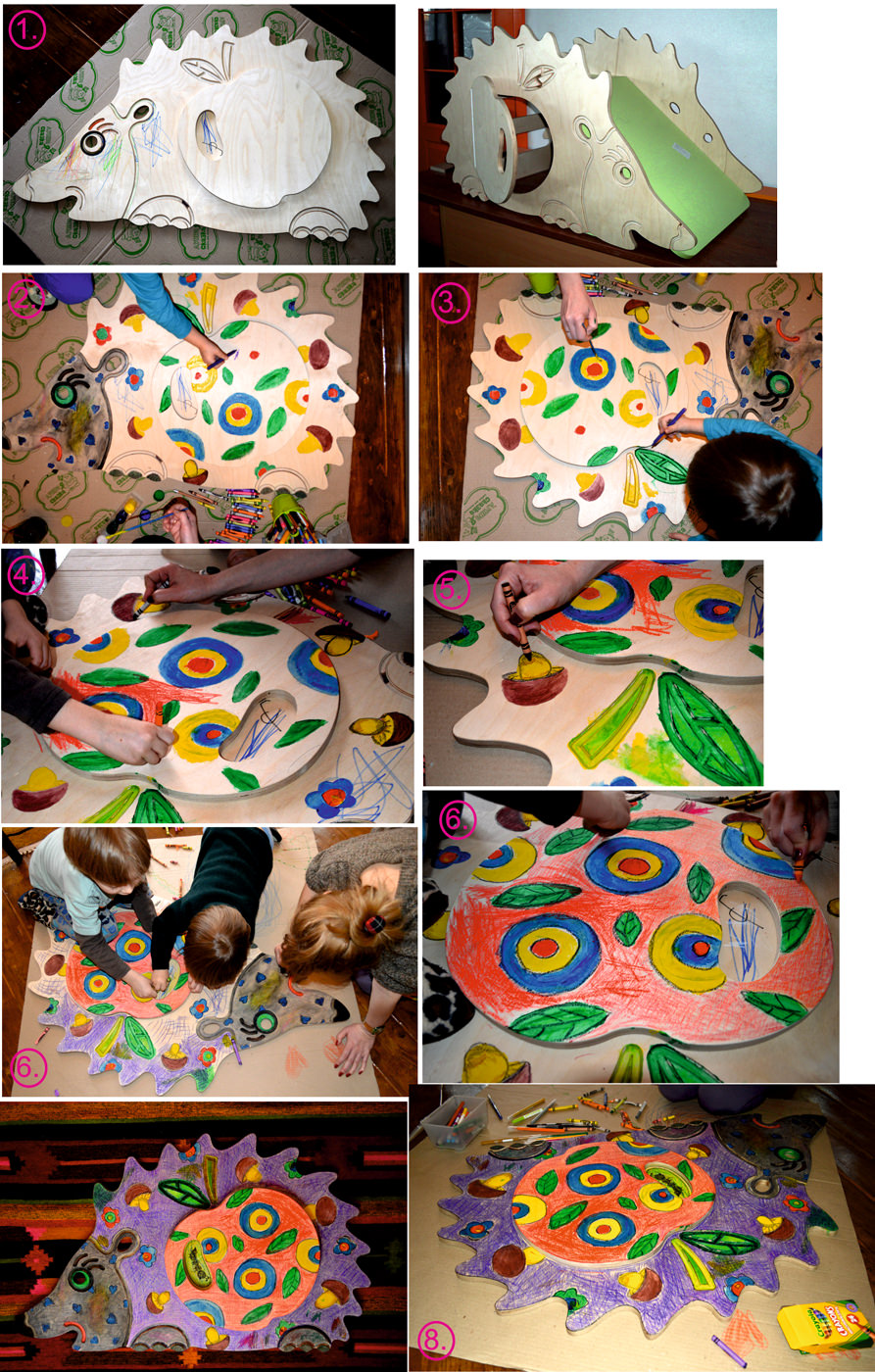 Процесс раскраски Ёжика