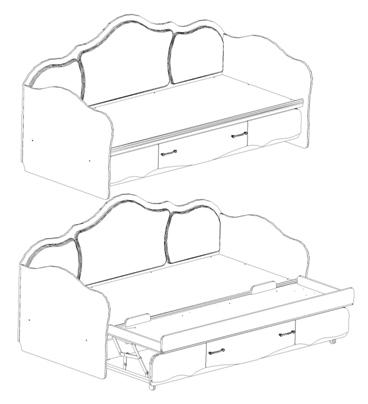 чертеж кровати с выдвижным спальным местом